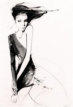 The elegant and extremely chic fashion work of Nuno DaCosta.    Nuno's loose and stylish brush work has already found favour with some of fashion's top creatives: Neil Moodie, Lisa Butler, Zoe Irwin, and designer Melissa Odabash among them — and his illustrations have appeared in Marie Claire, You and Cosmo.