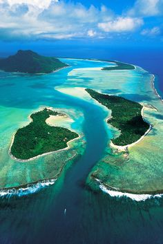 The pass of Onoiou at Maupiti, Society Islands, French Polynesia.