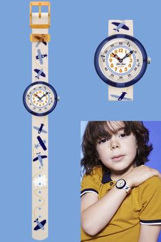 It's time for take-off - LOOPILOOP (ZFBNP122) lets them soar into the sky as they learn to tell the time with this white watch. With an acrobatic blue plane spiraling across its textile strap, LOOPILOOP is an ideal gift for kids to awaken their adventurous spirit! It's also shock and water resistant, for ultimate peace of mind. Telling Time, Peace Of Mind, 30, Awakening, Plane, Gifts For Kids, Swatch, Spirit, Textiles