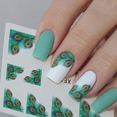 Nailpolis Museum of Nail Art | Fabulous Green Peacock Feather Water Decals Manicure by Born Pretty