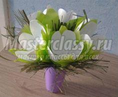 Весенние цветы из пластиковых ложек. Мастер-класс