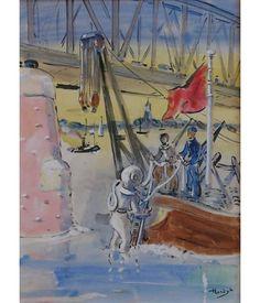 Gerard Hordijk 1899-1958 Gouache. Kikvorsman controleert in opdracht van de NS de fundamenten van de spoorbrug bij Zaltbommel onder water.