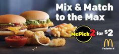 Get cheesy when you mix or match McDonald's new Mozzarella Sticks w/ one of these other tasty items! Go try the new McPick 2 for $2 today!