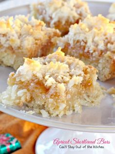Apricot Shortbread Bars | Can't Stay Out of the Kitchen | these luscious shortbread cookies are filled with apricot jam and coconut. We always get rave reviews from this recipe.