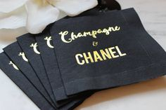 Chanel Party, Champagne and Chanel beverage cocktail napkin. Perfect for girls night out, dinner party, sweet 16, bachelorette party, bridal shower, birthday party or just a fabulous luncheon. Give these as a gift to your favorite fashionista. Chanel your inner Heather Dubrow. Popping bottles on New Years Eve in style by EatCoutureCupcakes