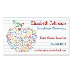 Teachers Apple Business Card | Exceptional Business Cards ...