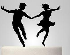 Funny wedding cake topper, lindy-hop dancer silhouette, groom and bride silhouette cake topper, personalize cake topper