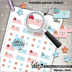 School Stickers Printable Planner Stickers Lesson by LetsPaperUp