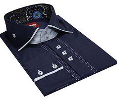 Men's Formal Casual Italian Design Shirts Slim Fit Designed Collar Navy Colour