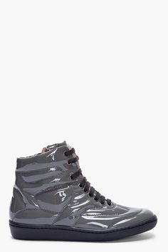 MM6 Maison Martin Margiela Dark Grey Patent Leather Sneakers
