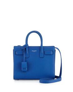 Sac de Jour Mini Grain Leather Crossbody Bag, Blue by Saint Laurent at Neiman Marcus.  #NMHandbags #NMShoeLove