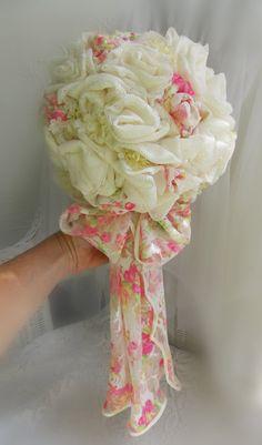 Shabby Rose Wedding Bridal Bouquet