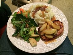 The PERFECT Fall Meal // Cider Glazed Pork Chops, Mashed Potatoes, Maple Glazed Apples, and a Harvest Salad. // yummy!