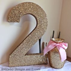16in Gold Number 2, TWO birthday sign, second birthday, gold and pink centerpiece, first birthday, party decorations, party supplies, bday by EverydayDesignEvents on Etsy https://www.etsy.com/listing/496731258/16in-gold-number-2-two-birthday-sign