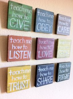 "Love!!----Christian Art - SET of 9 - ""Teach Me"" Wood Blocks - Inspirational Art -Nursery Art- Childs Room, Home Decor, Faith Based Art. $132.00, via Etsy."