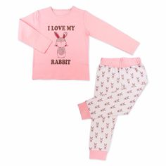 Made from skin-friendly organic cotton Comfortable clothing, no irritating tags or seams Also available in blue colour For babies in sizes: months / months / months / months / months / months / Made in Turkey… Toddler Pajamas, Girls Pajamas, Pink Rabbit, Toddler Girl Outfits, Comfortable Outfits, Pyjamas, Rabbits, Organic Cotton, Crop Tops