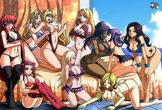 Commission for the Girls of Fairy Tail From top left to Bottom Right: Cana Alberona Erza Scarlet Lucy Heartfilia Juvia Loxar Levy McGarden Laki Olietta Bisca Mulan (Connell) Evergreen Mirajane Stra...