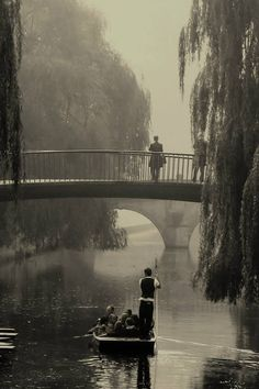 Early punting on the river Cam in Cambridge, England.