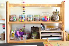How we Montessori collaging shelf. IKEA birch letter tray for paper