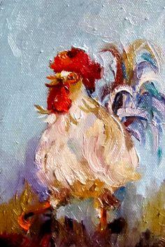 Rooster Stust his stufffarm animal Chicken art by Artbydelilah, $50.00