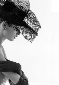 1963. Model Jean Shrimpton in Madame Paulette stiffened net hat. Photo by David Bailey (B1938)
