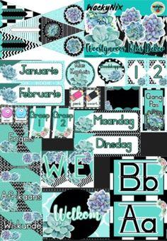 WackyNix Woestynroos Klas Dekor (Afrikaans) by WackyNix   TpT 5th Class, Welcome Banner, Class Decoration, Desert Rose, Afrikaans, Months In A Year, Classroom Decor, Alphabet, Deserts