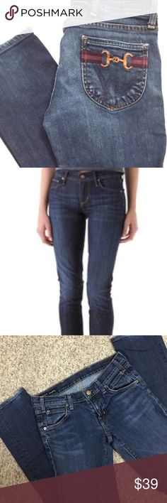 """AUTHENTIC CITIZENS OF HUMANITY👖 JACKIE #149 Awesome Jeans! Dark wash, straight leg, stretch. 6 pocket, button/zip fly front closure. Inseam is approximately 31"""" Super, super comfortable jeans!! Some wear along back of ankles (pictured) Nothing major, still in EUC. Smoke free home 🏡 Bundle & save! Citizens of Humanity Jeans Straight Leg"""