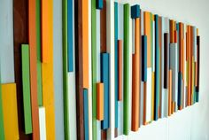 DIY with scrap wood Wall art so easy this could be a KID CRAFT...stain wood with different hues instead of paint too!