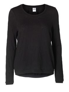 TROPEZ LACE HI-LO L/S TOP NFS, BLACK