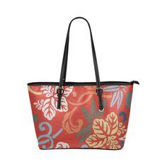 Japanese Vintage Floral Kimono Pattern Leather Tote Bag/Small (Model 1651)