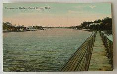 Entrance to Harbor Grand Haven Michigan MI Postcard   eBay