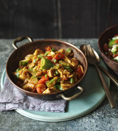 The key to this light, jalfrezi-style curry is marinating the meat because it provides loads of flavour without adding any fat