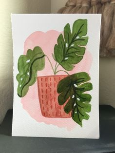 7 x 5 in watercolor painting of monstera deliciosa $20 Monstera Deliciosa, Patience, Watercolor Paintings, Water Colors, Watercolour Paintings, Watercolor Painting