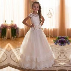 Ball Gown Maxi Flower Girl Dress - Cotton / Chiffon / Tulle Cap Sleeve Jewel Neck with Lace / Sash / Ribbon / Solid Flower Girls, Princess Flower Girl Dresses, Cheap Flower Girl Dresses, Wedding Flower Girl Dresses, Wedding Dresses For Sale, Girls Dresses Online, Girls Pageant Dresses, Wedding Party Dresses, Gown Wedding