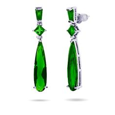 Emerald green is the it color of this fashion season. Don't get caught without a pair of these Emerald CZ Pear Drop Dangle Earrings in your jewelry box! These earrings have a slightly vintage feel and will look great for a night on the town.  Wear them with a stunning dress in the same color or add a splash of green to that little black dress. These earrings measure 1.5 inches long from the top of the baguette emerald CZ.