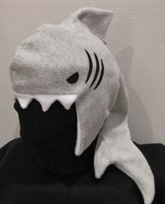 Shark Fleece Hat  GREY & WHITE by apricityhats on Etsy, $35.00
