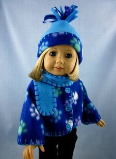 American Made Doll Clothes  - Fleece Jacket, Hat and Scarf Set in Blue Paw Prints Fleece