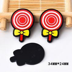50pcs 34*24MM Kawaii Kids Lollipop Resin Flatback Sweet Candy Planar Resin DIY Craft for Home Decoration Accessories DL-626