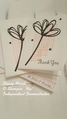 Stampin' Up! Sunshine Wishes, Timeless Textures. Thank you cards stampinwithstaceymarsh.weebly.com