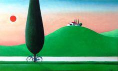 """""""Seduto in riva al fosso"""" Acrilico su tela 60x100 (2014)"""