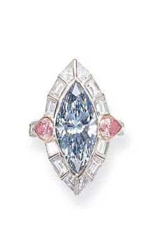 A RARE FANCY BLUE DIAMOND RING, BY DAVID MORRIS