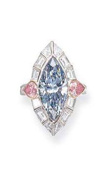 A RARE FANCY BLUE DIAMOND RING, BY DAVID MORRIS