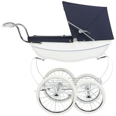Buy White Gloss Silver Cross Oberon Navy Dolls' Pram from our Dolls, Doll Houses & Doll Prams range at John Lewis & Partners. Vintage Pram, Dolls Prams, Beautiful Hands, Polished Chrome, Metal Working, Baby Strollers, Brake System, High Gloss, Silver