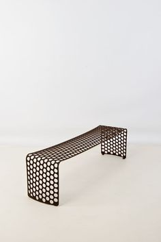Xavier Lust, Rusted Metal Bench (steel) / Banc à perforations circulaires, Acier… Cheap Patio Furniture, Trendy Furniture, Bench Furniture, Steel Furniture, Furniture Design, Furniture Market, Furniture Chairs, Yellow Painted Furniture, Painting Antique Furniture