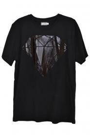 Black Foil Diamond Graphic Printed T-shirt