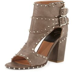 Laurence Dacade Deric Studded Two-Buckle Sandal ($528) ❤ liked on Polyvore featuring shoes, sandals, high heeled footwear, grey high heel shoes, studded high heel sandals, spiked sandals and gray sandals