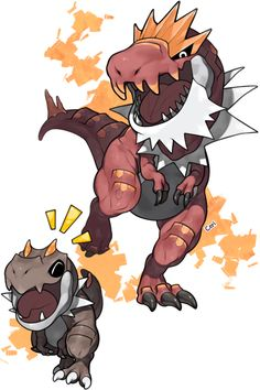 Tyrunt looks so happy and naughty, LOL ...   tyrunt, tyrantrum, pokemon