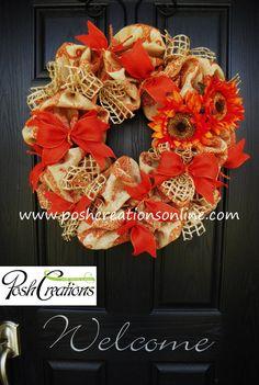 Fall Wreath Halloween Wreath Mesh Wreath Burlap by poshcreationsKY, $75.00