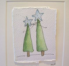 "Aquarel kaart Christmas""samen Shining Bright"" met envelop betrueoriginals"