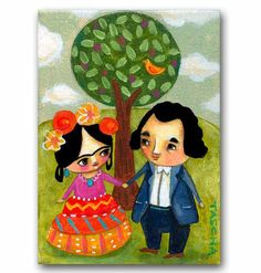 ORIGINAL Acrylic Painting FRIDA Kahlo And DIEGO In Love By Tascha